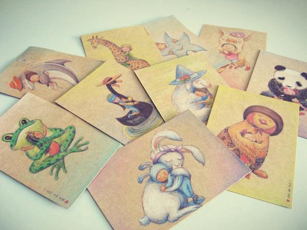纯手绘明信片/新年祝福/圣诞贺卡/雪|涂鸦/潮流|插