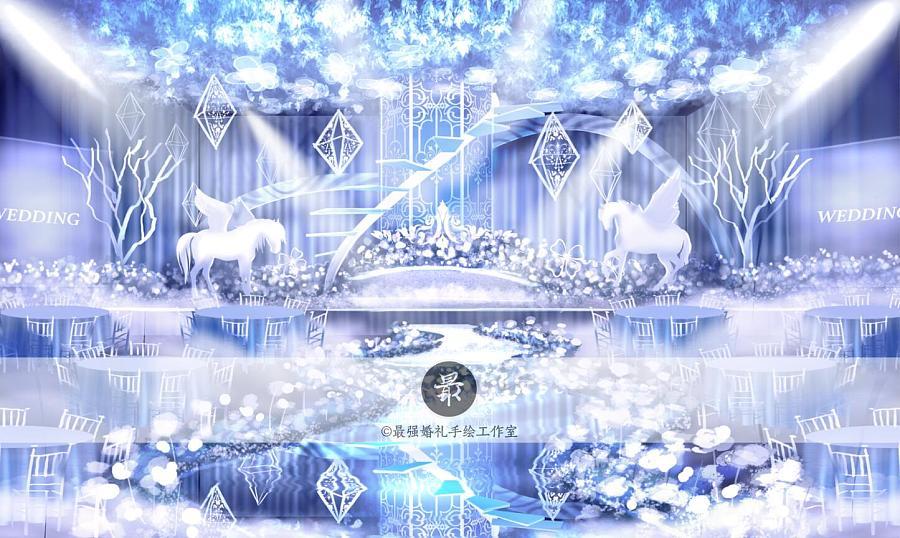 【婚礼手绘】电脑手绘—冰蓝色厅内效果图3