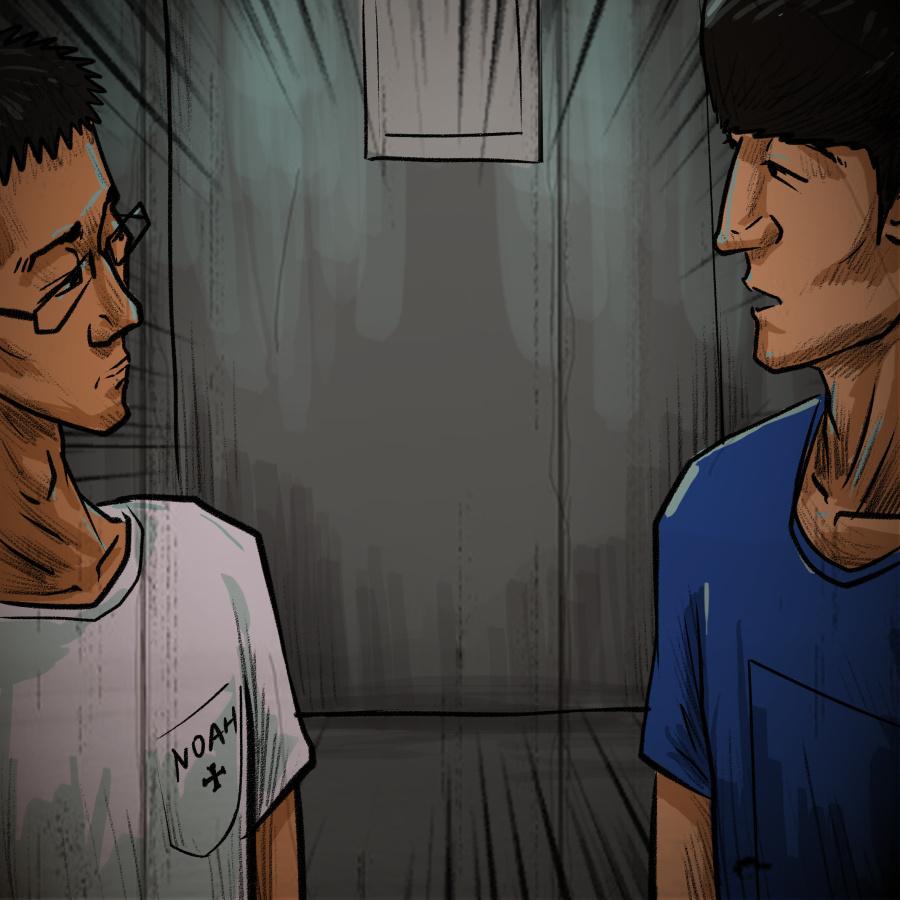 恐怖插画电梯|商业档案|漫画|昊昊HOWHOW-灵异插画漫画图片