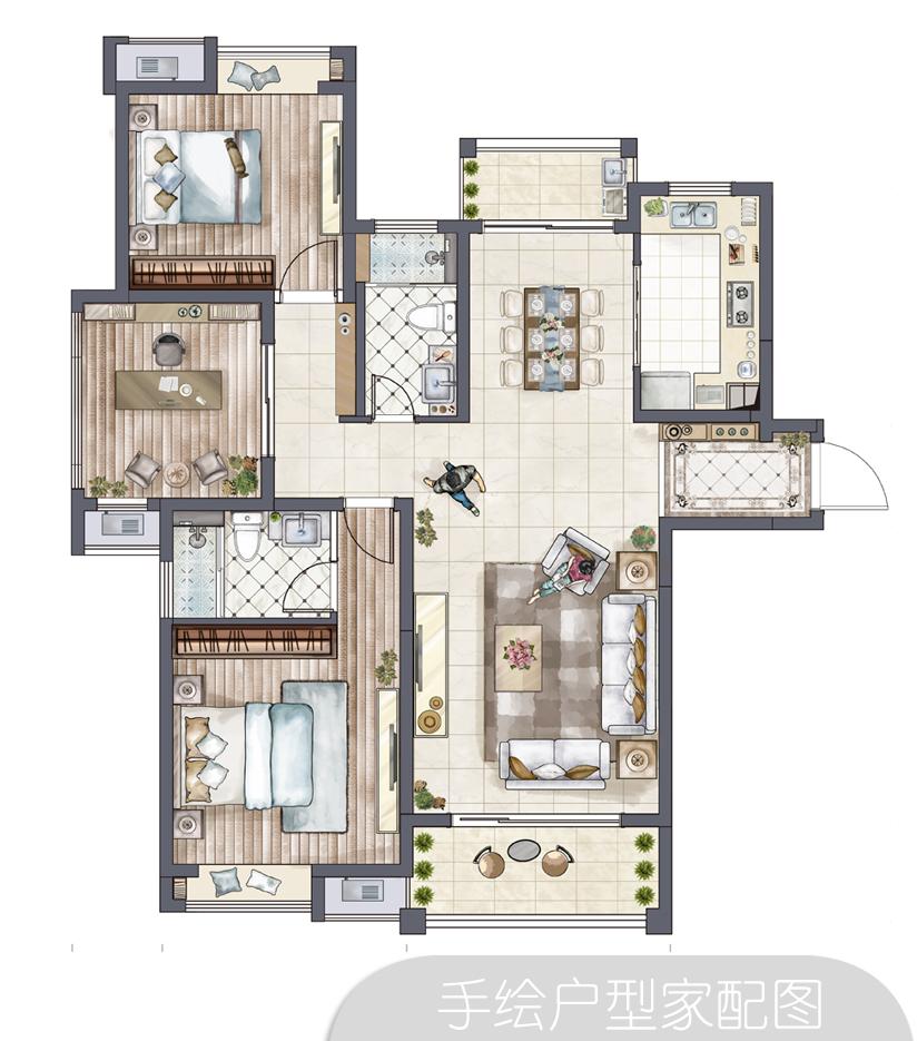 手绘家配户型图|室内设计|空间|三月青鱼 - 原创设计