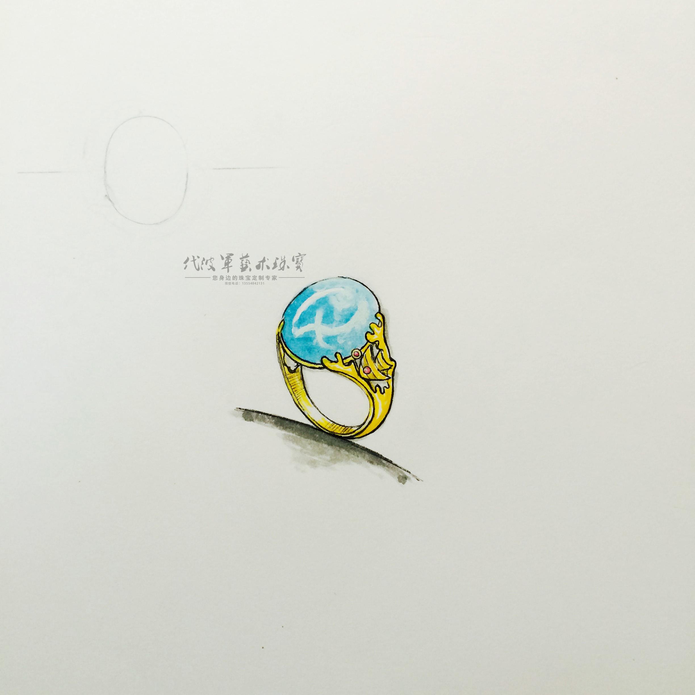 代波军艺术珠宝定制-海纹石戒指设计—手绘图