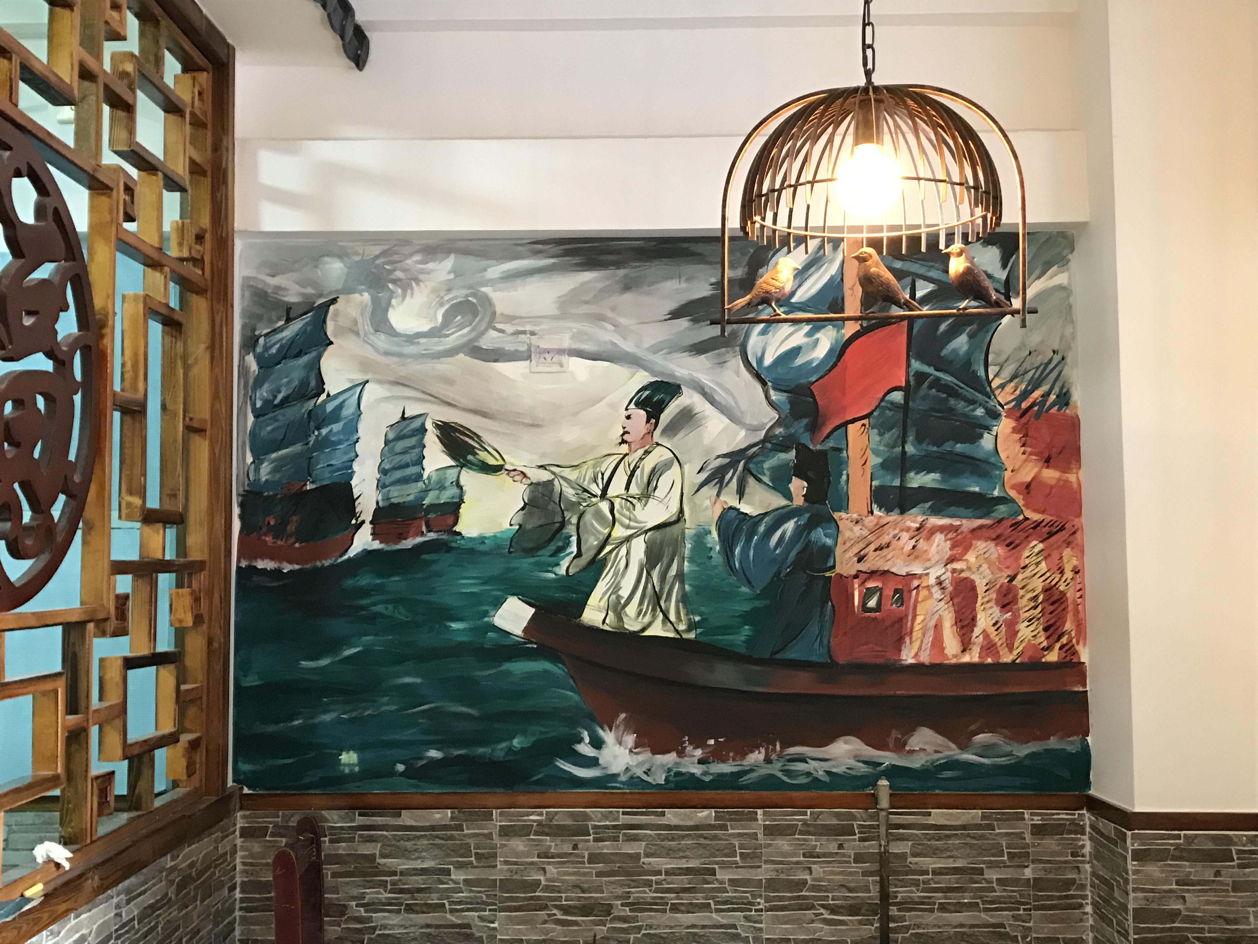 烧烤店室内墙绘      图片