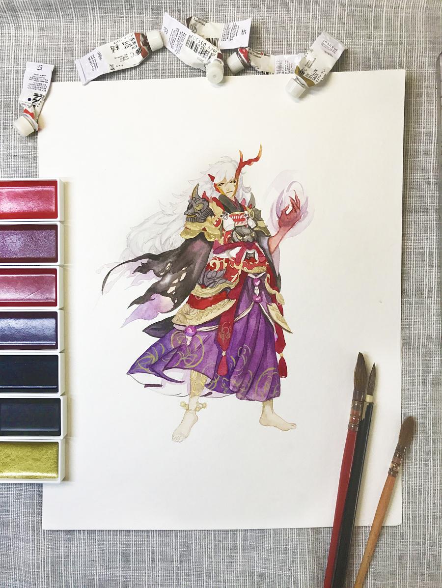 水彩手绘--阴阳师 茨木童子