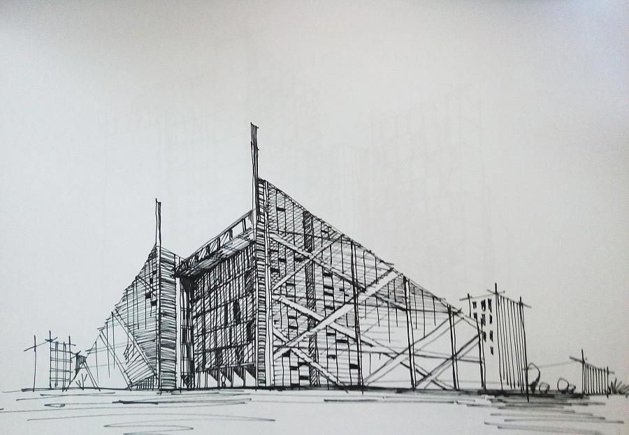 建筑类手绘图 建筑设计 空间/建筑 鹿小尤