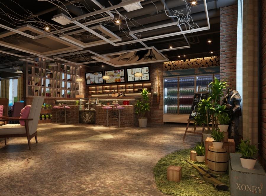 雅安网咖 装修 设计公司 工业风 绿色动漫 网吧 设高清图片