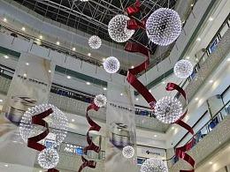 商场中庭灯光装置定制铭星厂家专业中庭吊挂美陈包装