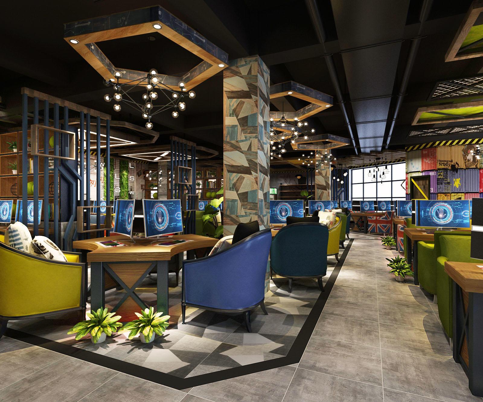 设计出供人休闲娱乐的现代绿色环保空间是集上网,休闲,娱乐,餐饮等为