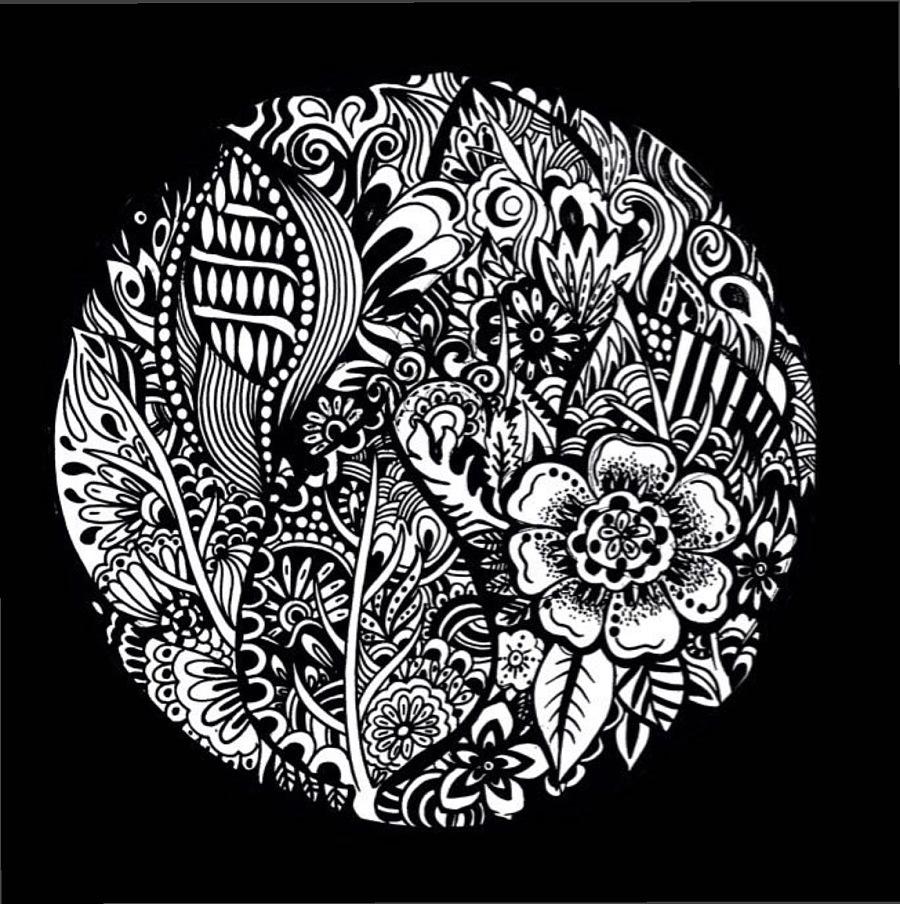 黑白插画,传统花卉纹样图案--黄小葳|其他