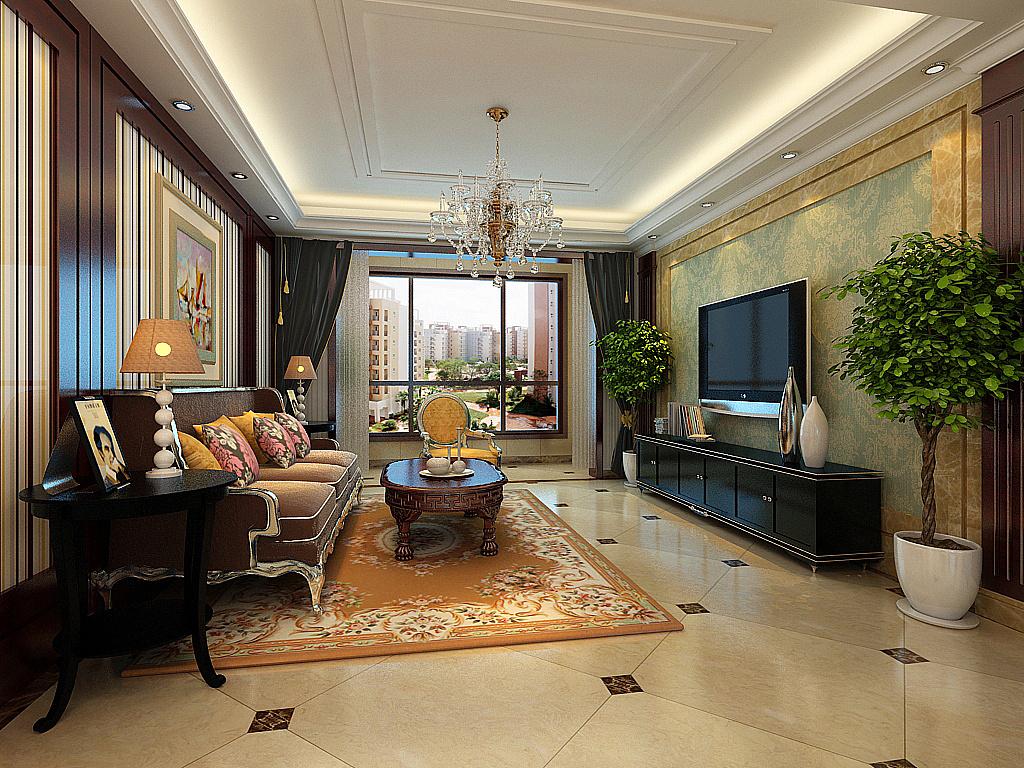 荣景园143㎡三室两厅后奢风格装修效果图