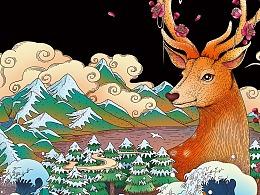 鹿茸酒包装插画案例