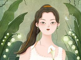 女子插画 .