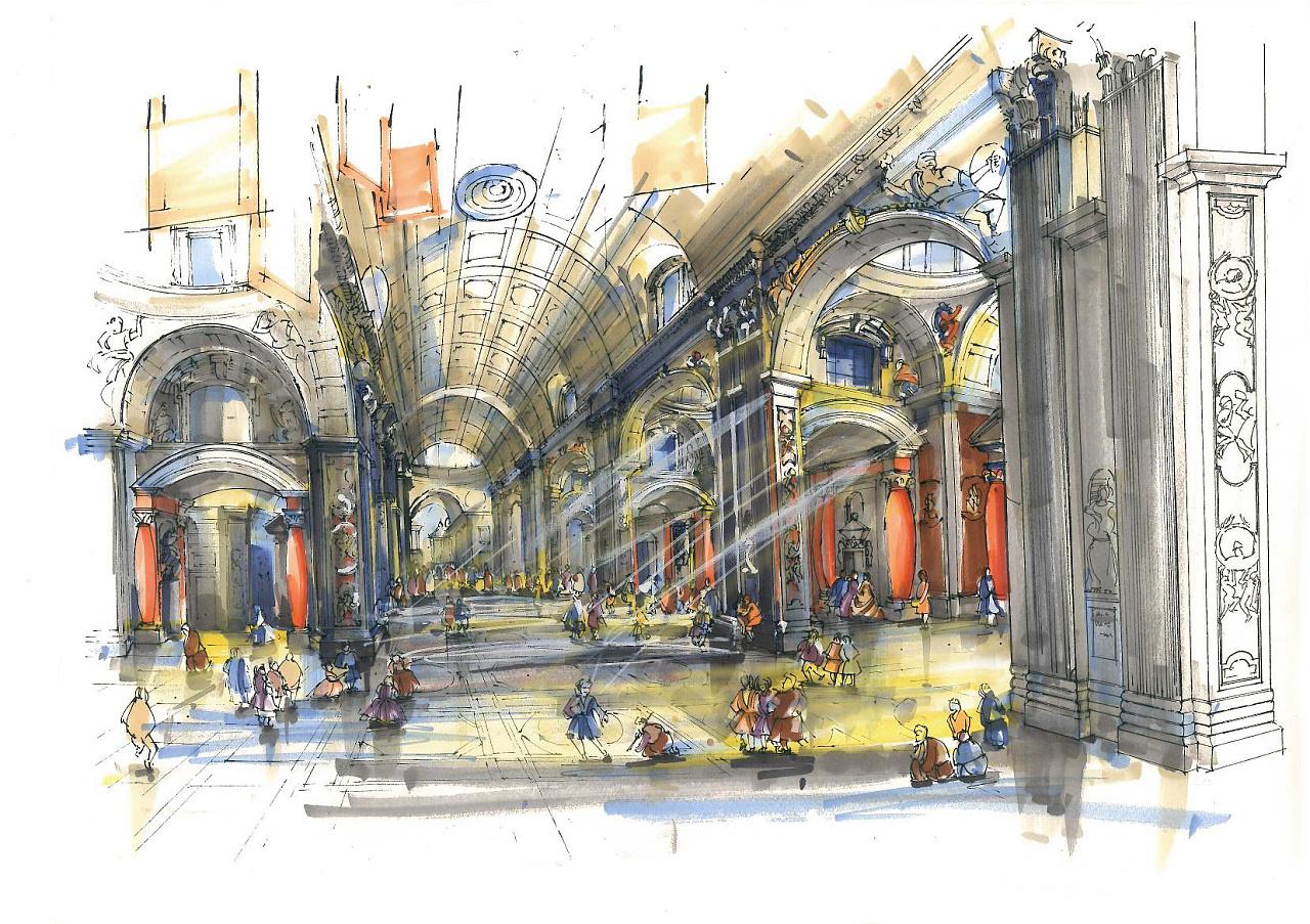 意大利圣彼得大教堂手绘