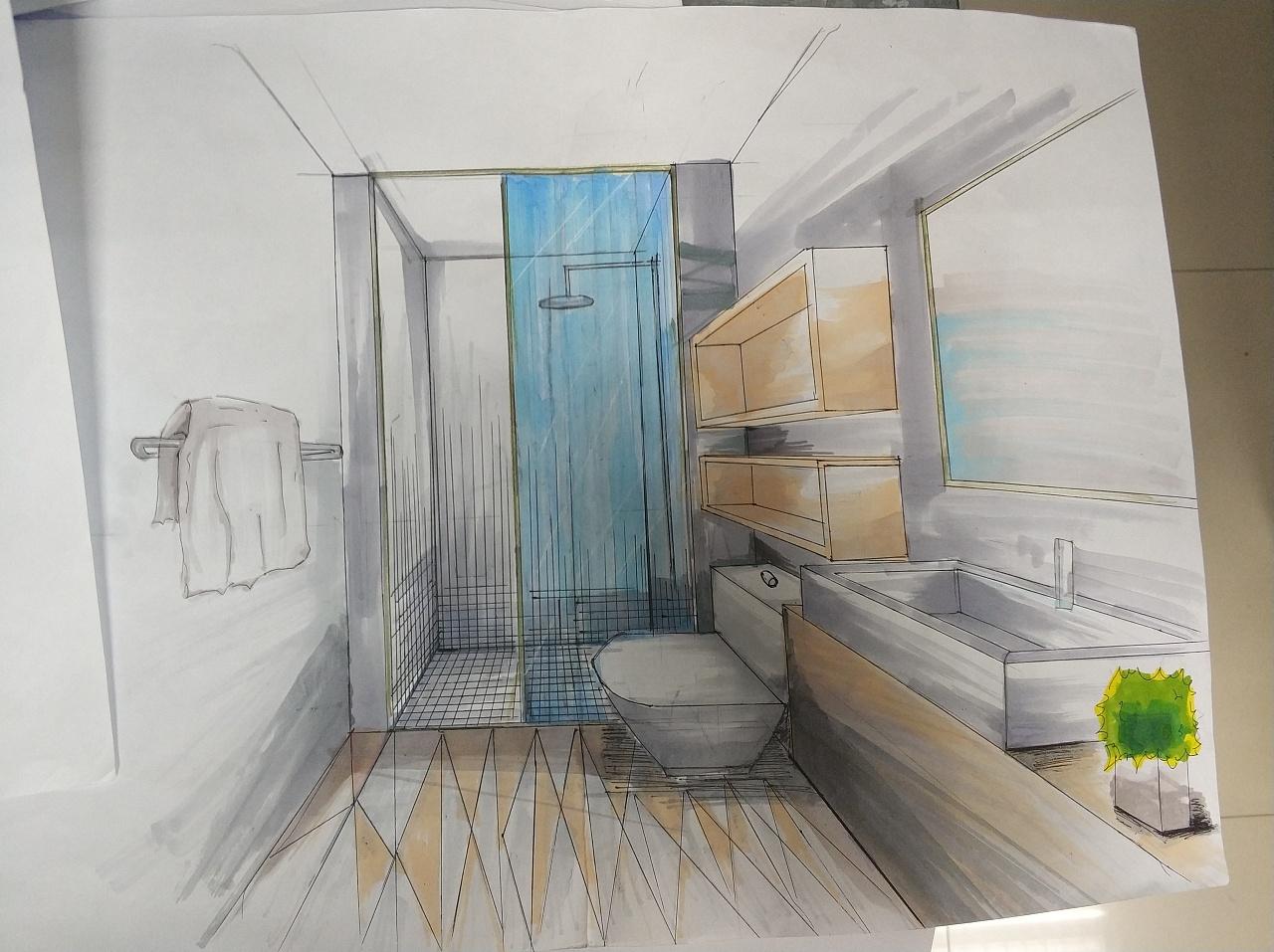 卫生间与民宿卧室手绘