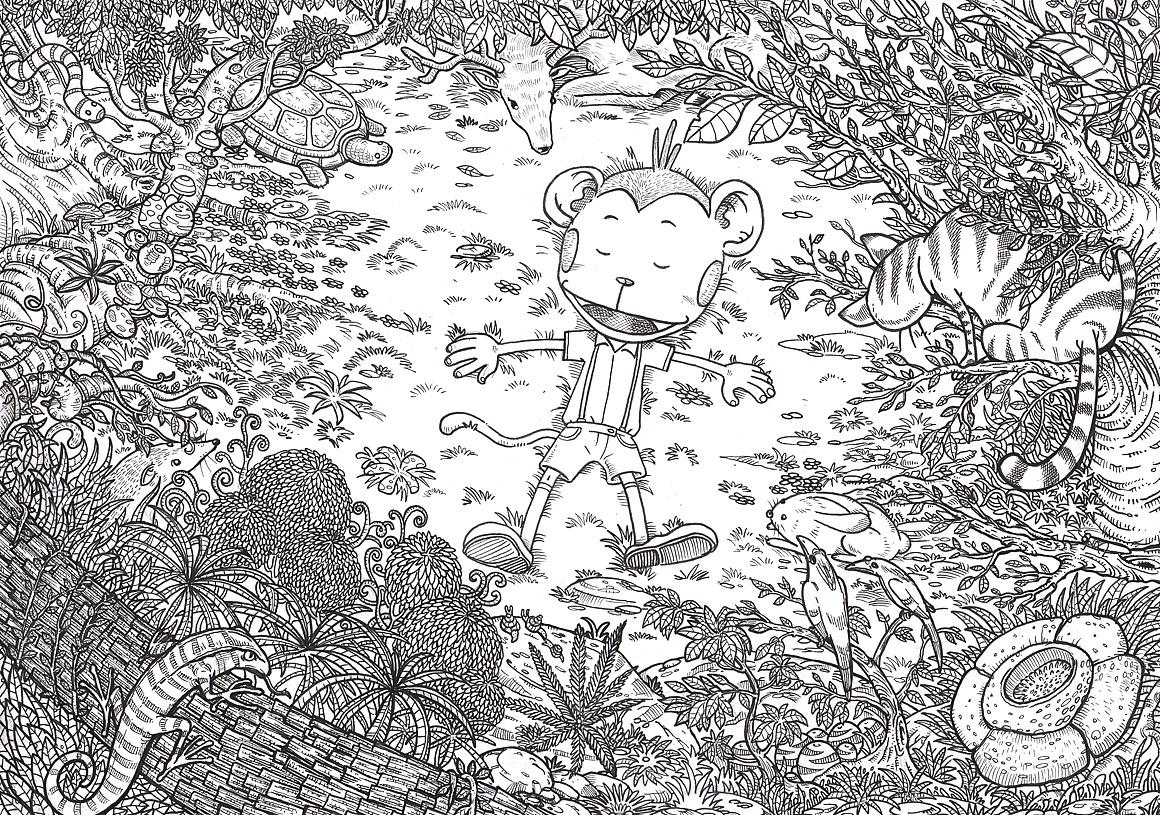 黑白卡通背景森林