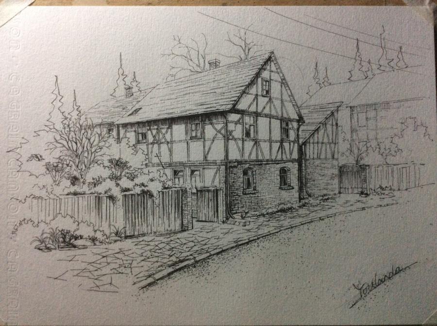 国外的老 房子 钢笔画 纯艺术 昱兰 原创设计作