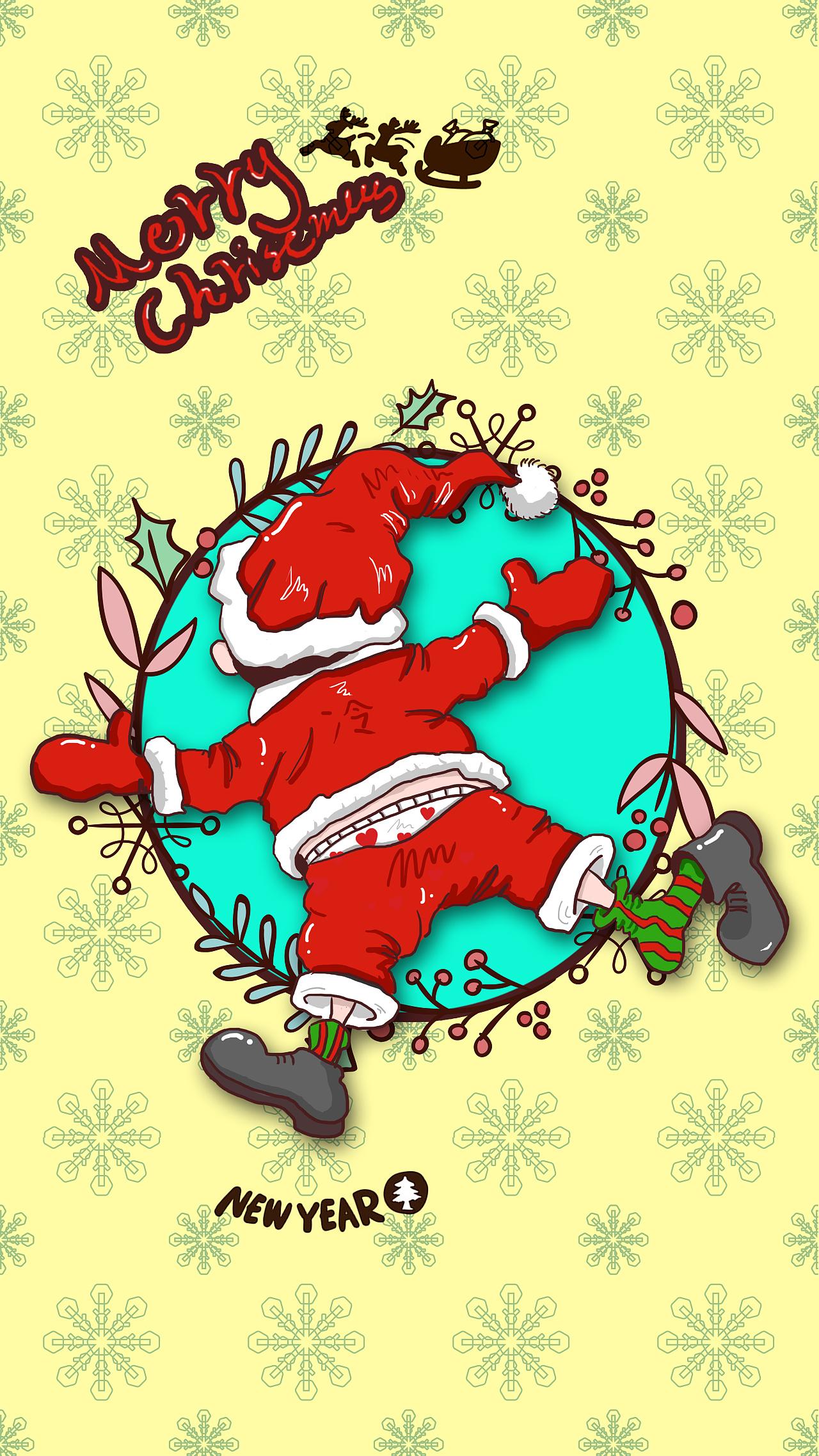 手绘圣诞节手机壁纸(火包胡同原创动漫人物形象扩展)系列x5