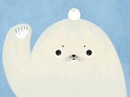 《一起堆雪人》- 百度首页doodle国际海豹日主题插画