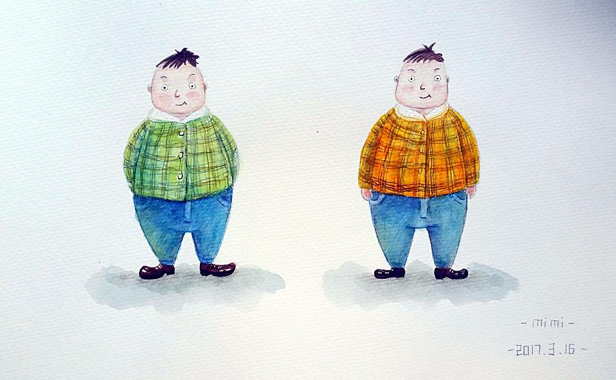萌插画|胖子儿童|漫画|mimi1988-原创设计作品的李敏俊插画图片