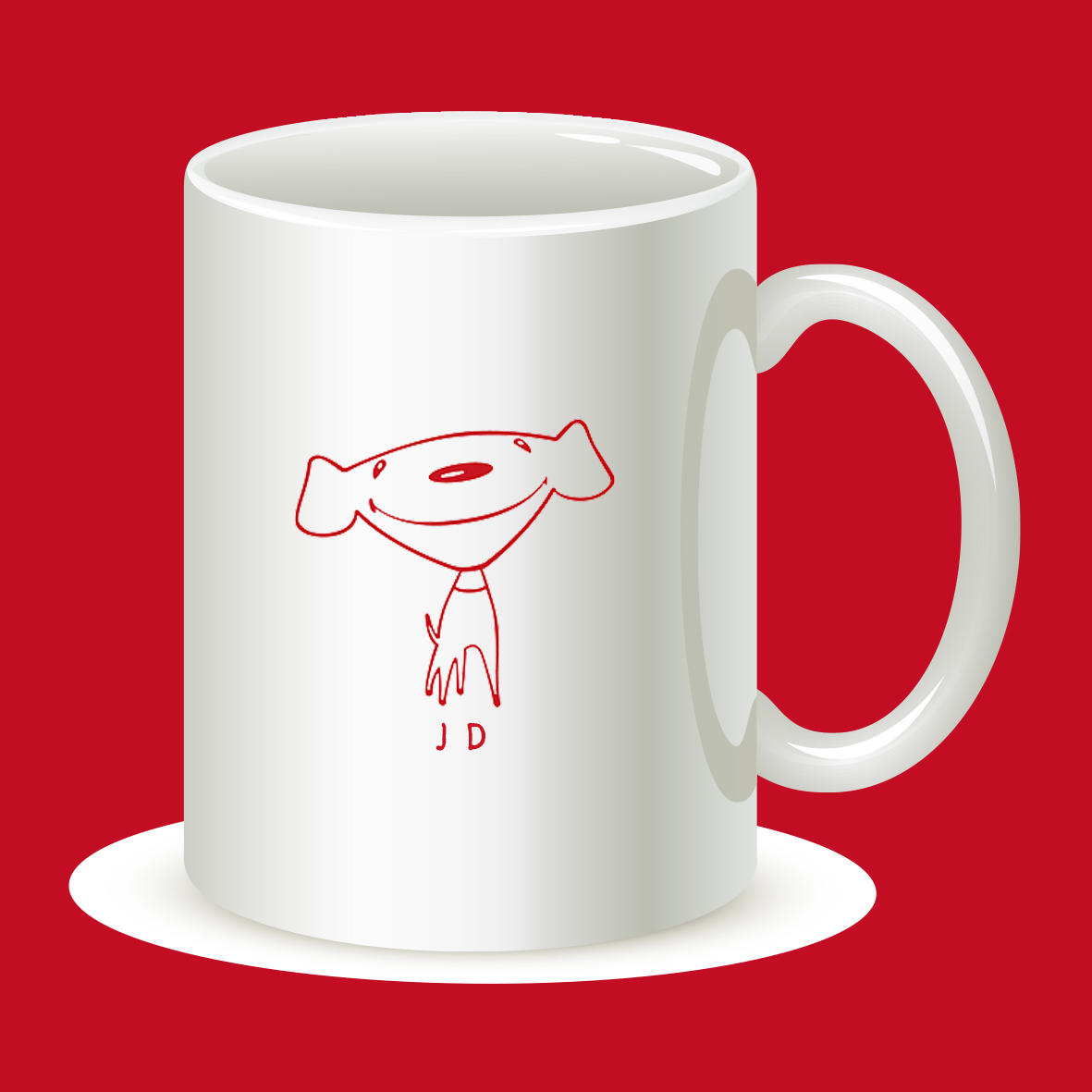 白色杯子配上京东鲜艳的红色线条吉祥物