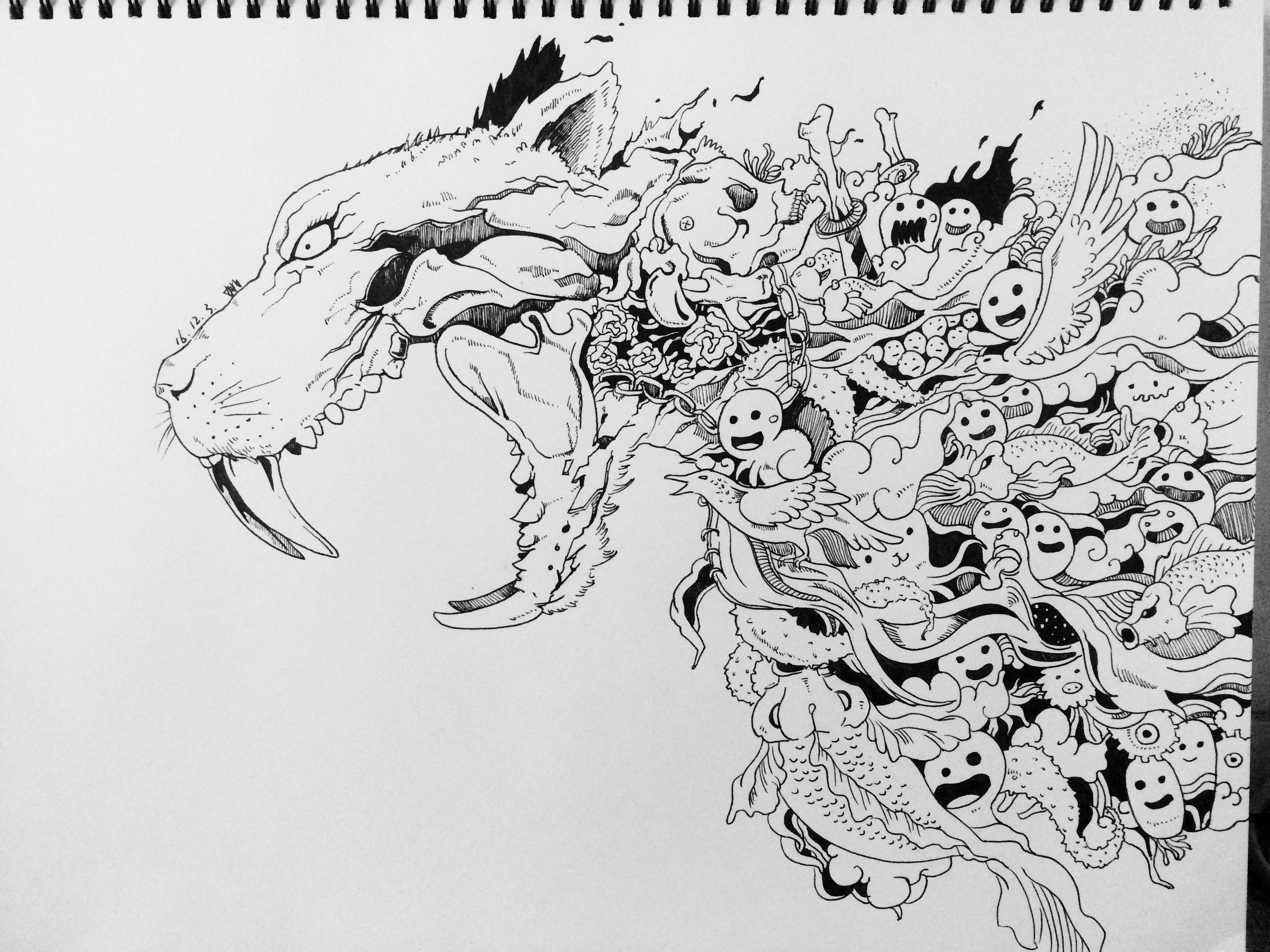 手绘线稿练习(二) 插画 插画习作 烟烟罗yy - 原创