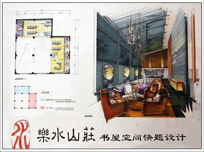 乐水山庄的书屋设计, 马克笔手绘