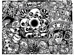 成都元素-黑白装饰插画