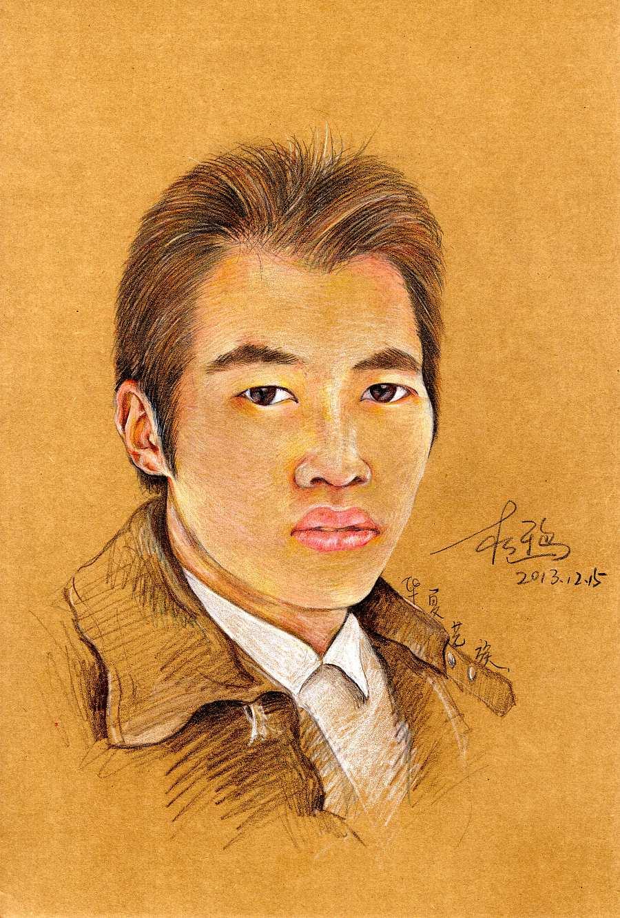 原创作品:彩铅人物手绘——画友