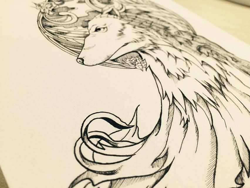 针管笔插画《狼雨》