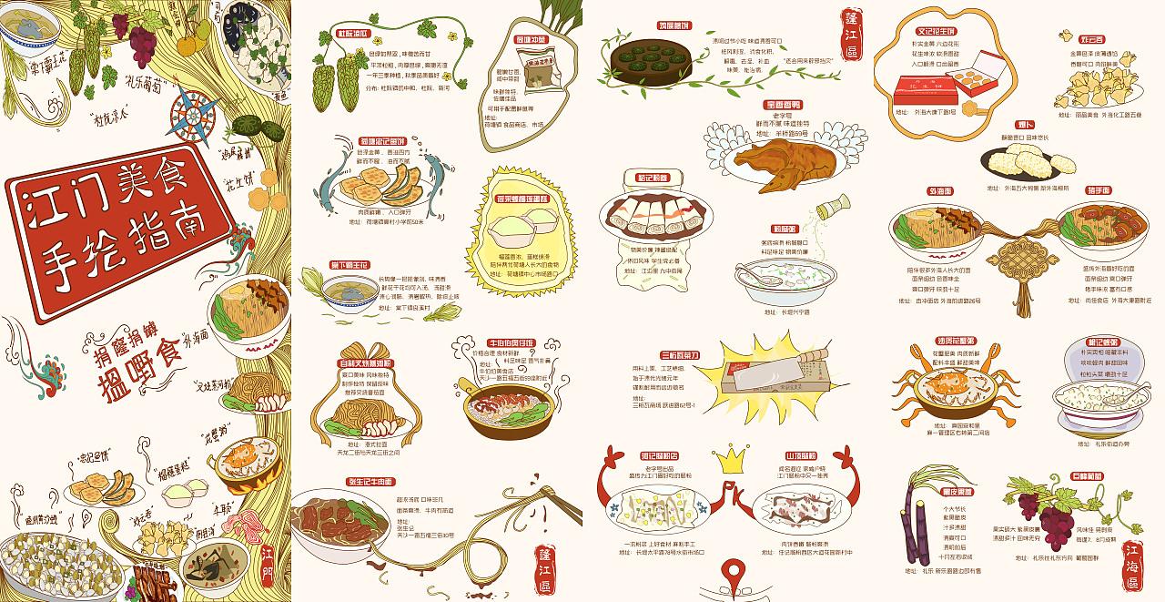 手绘美食地图-广东江门