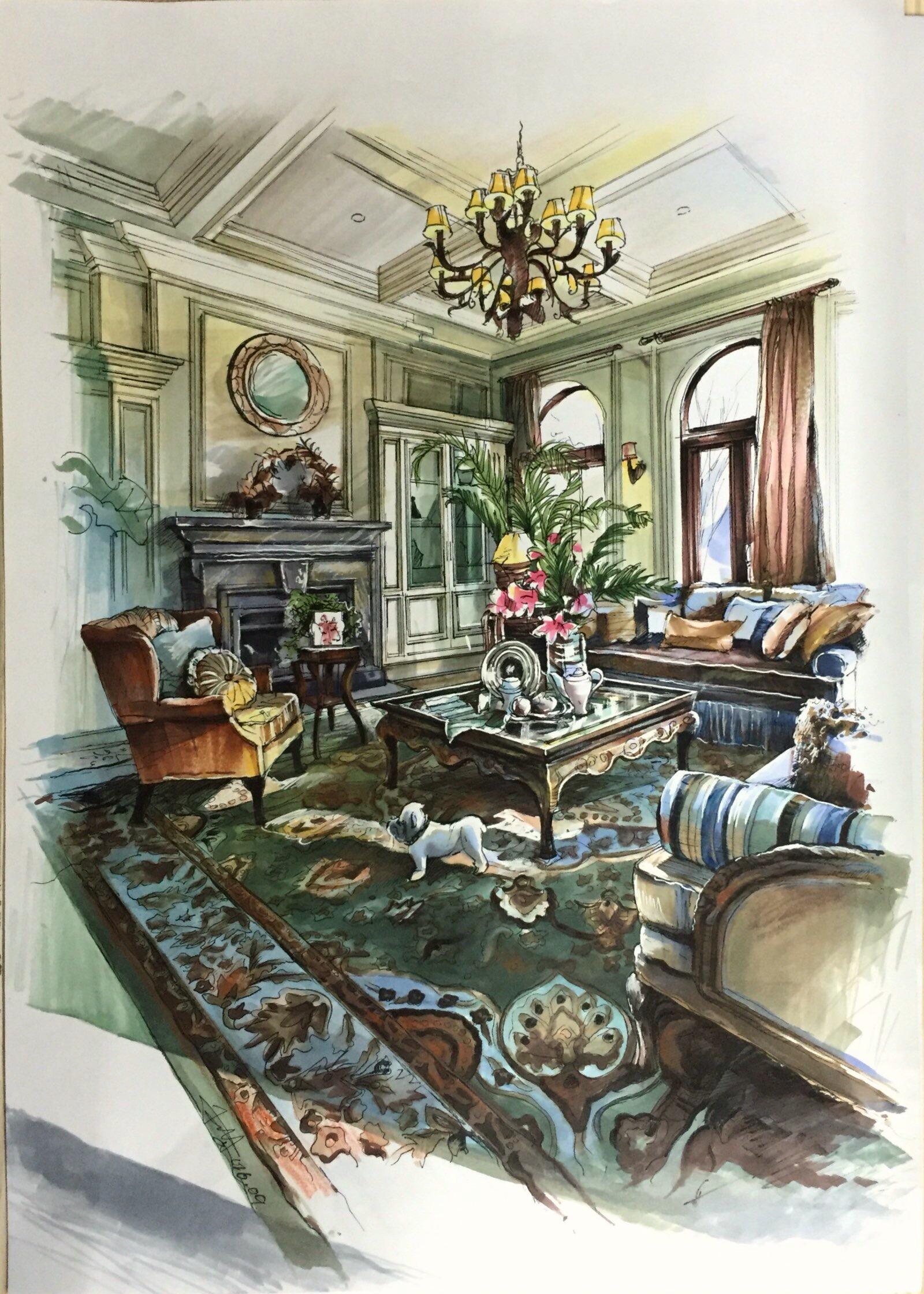 马克笔手绘效果图——美式家居