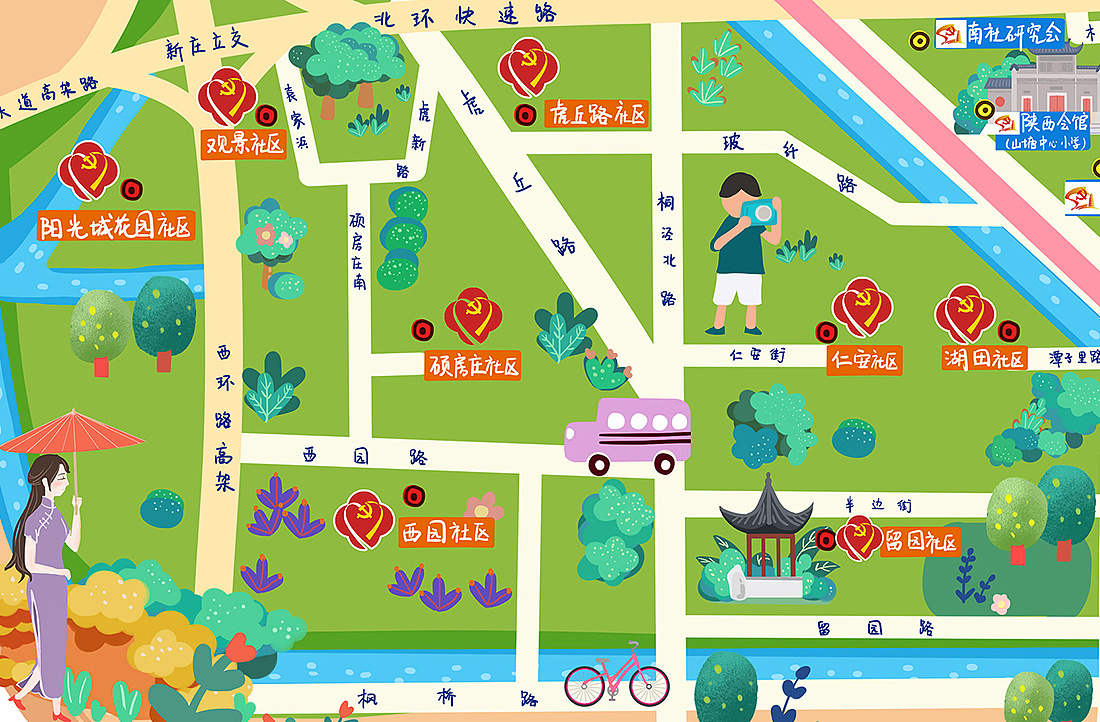 虎丘街道手绘地图