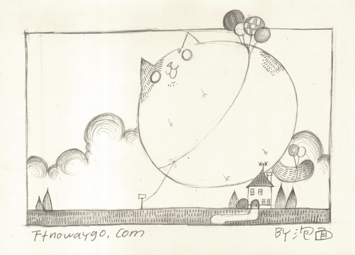 黑白铅笔小猫手绘