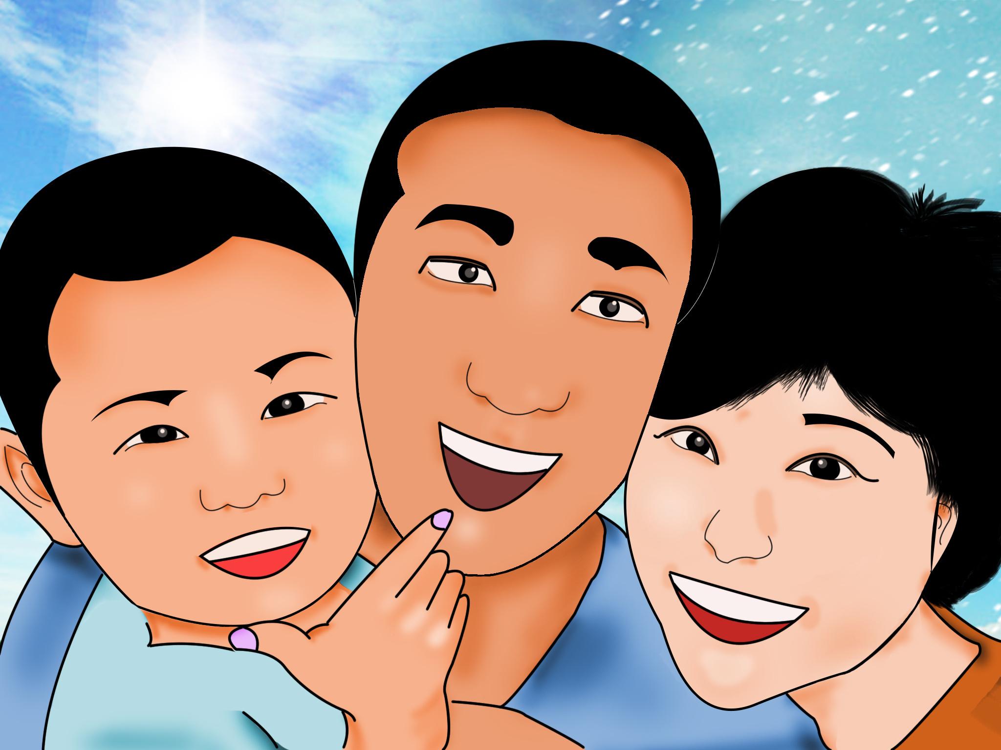卡通手绘头像 幸福快乐的三口之家