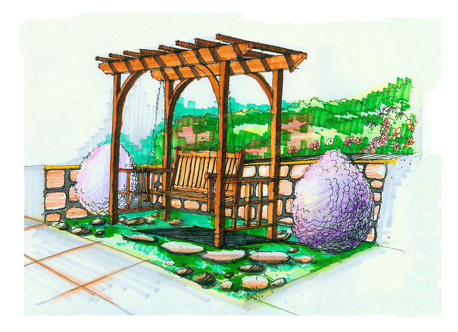 景观小品手绘|景观设计|空间|九层之台 - 原创设计