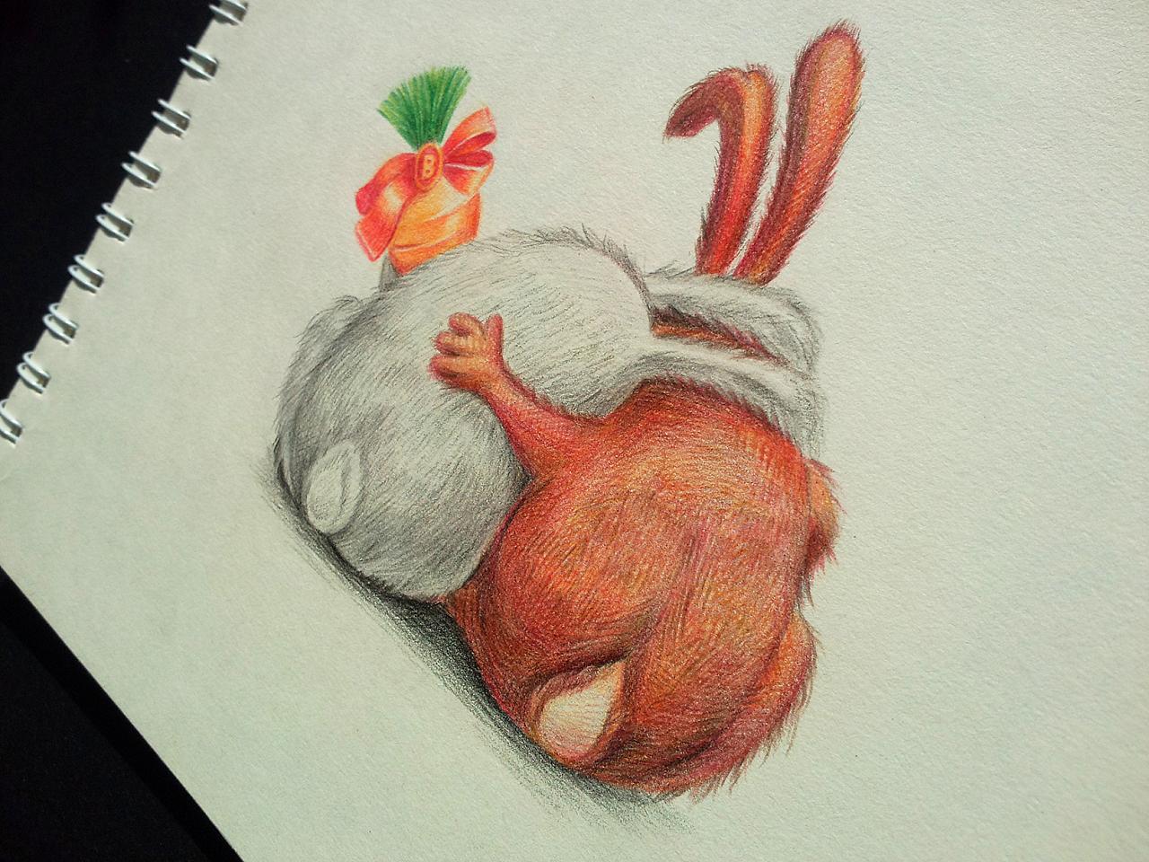 2b兔 | 插画 手绘 彩色铅笔