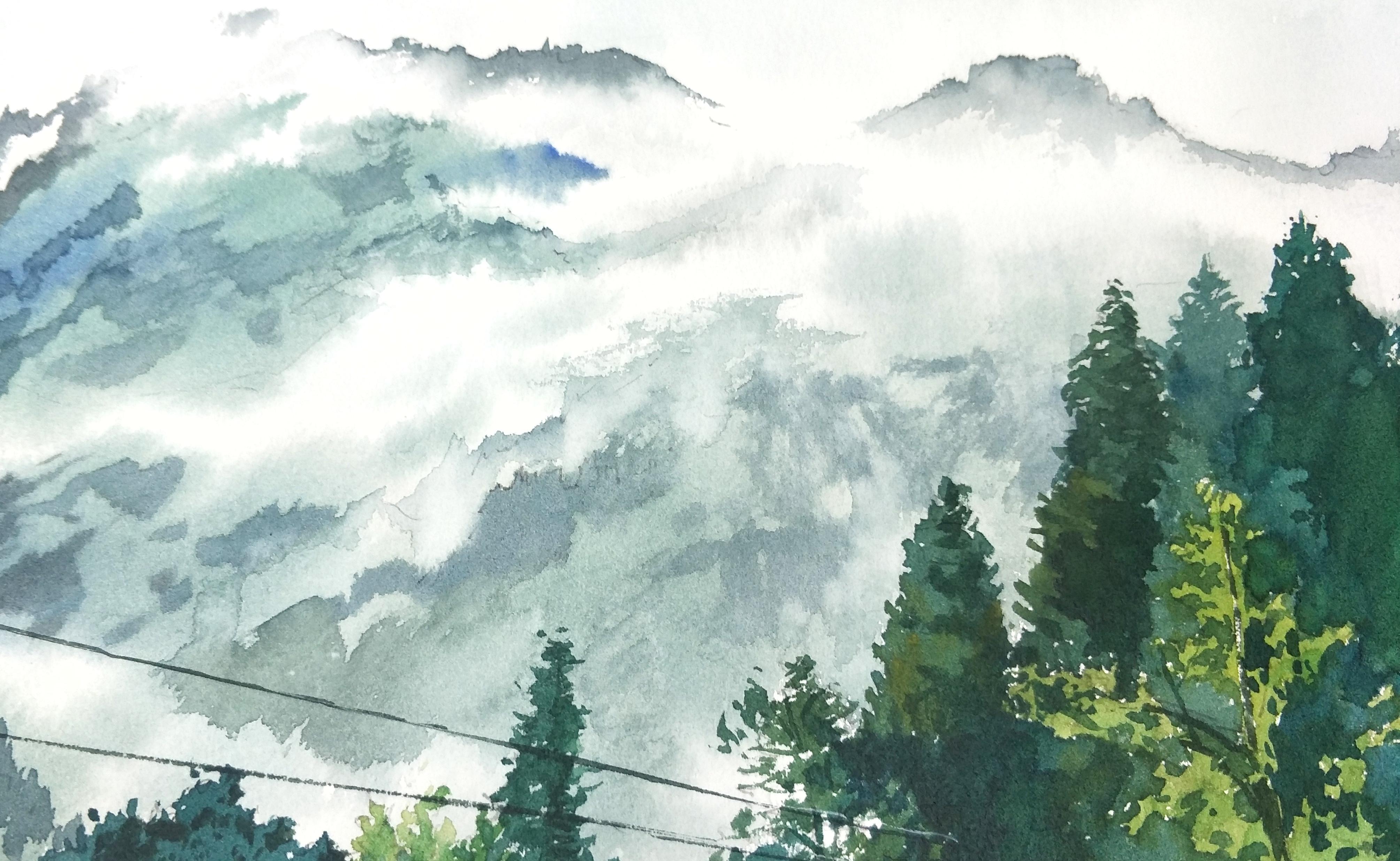 水彩手绘风景