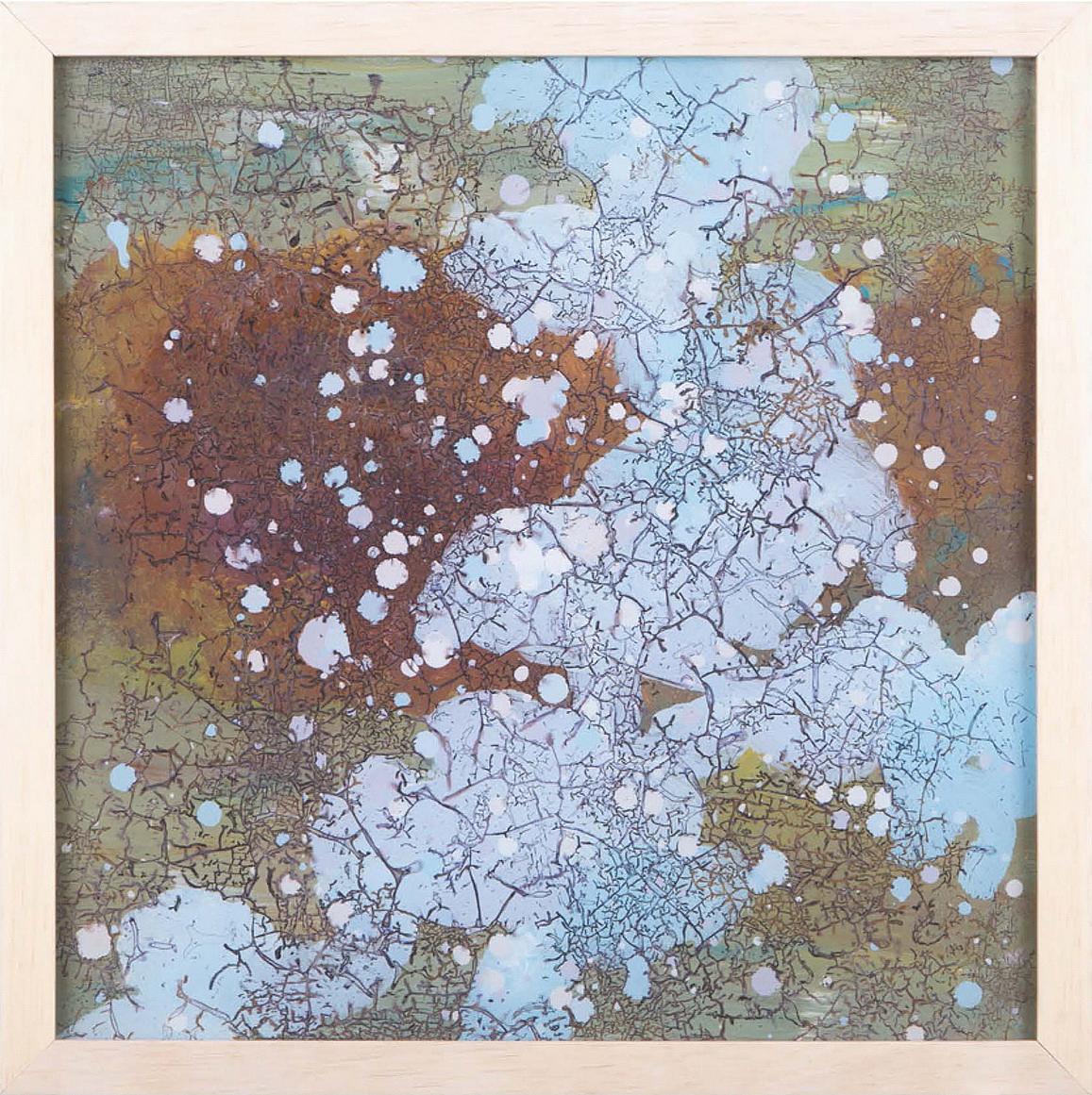 明圣十三-抽象手绘玻璃裂彩画