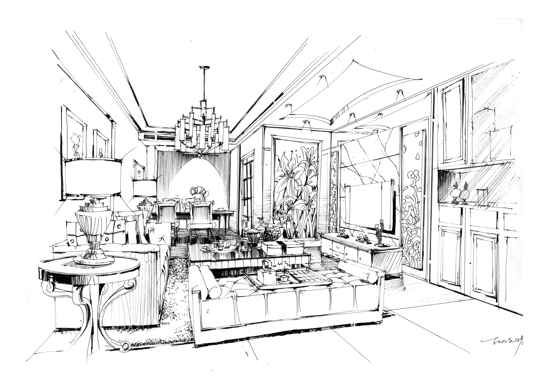 小张:室内设计手绘效果图