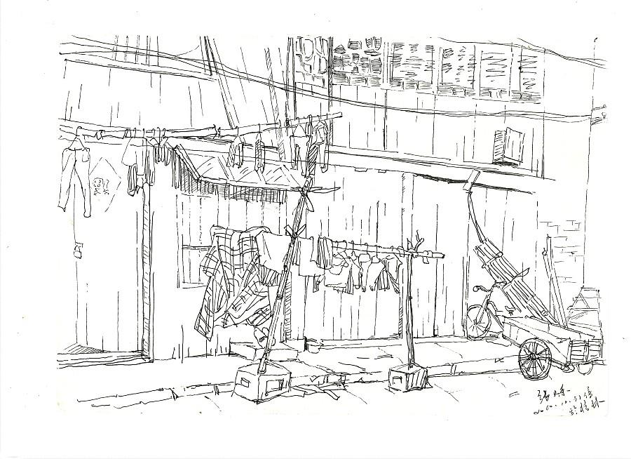 手绘桂林线描画