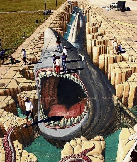 墙绘素材3d鲨鱼