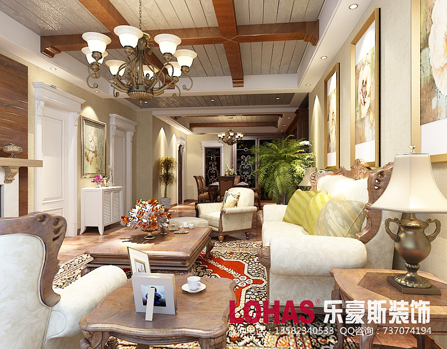 68.14户型三室两厅美式乡村风格装修案例解哪里有房屋设计图图片