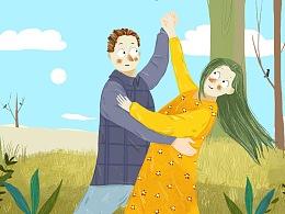 森林里跳舞的情侣