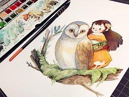 猫头鹰与少女