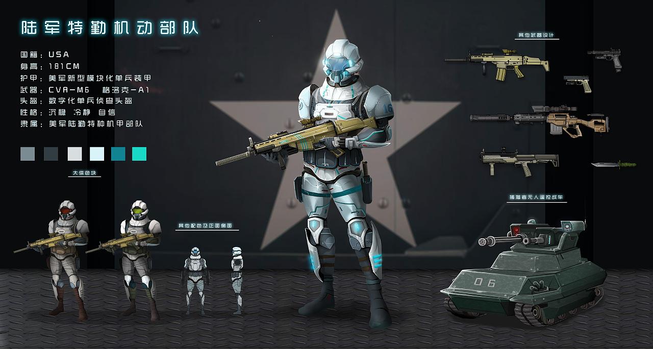 单兵科幻装甲/未来装甲角色设计