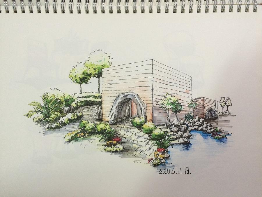 室外手绘图练习-临摹|园林景观/规划|空间/建筑|唔唔