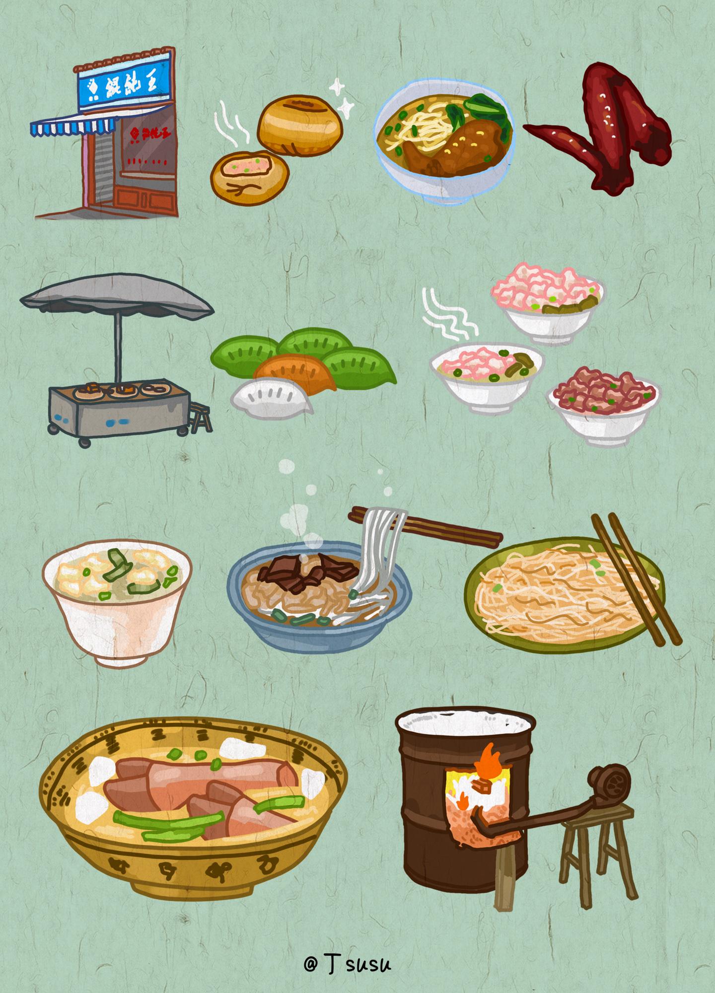 福鼎小吃美食手绘地图