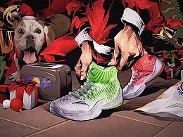 """汤普森安踏圣诞球鞋插画创意,KT3""""XMAS"""""""