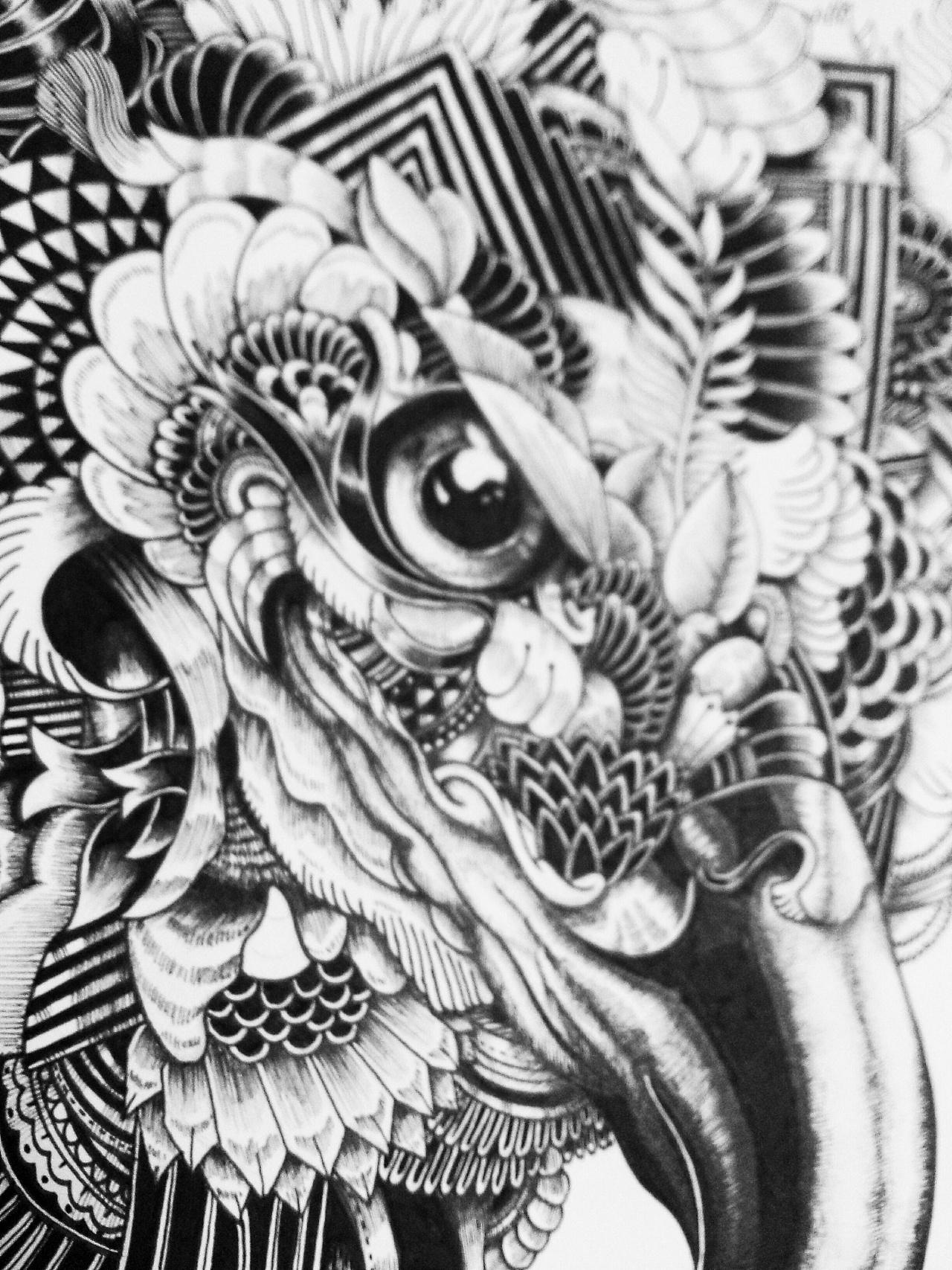 针管笔 黑白 手绘动物 第三弹 {临摹}