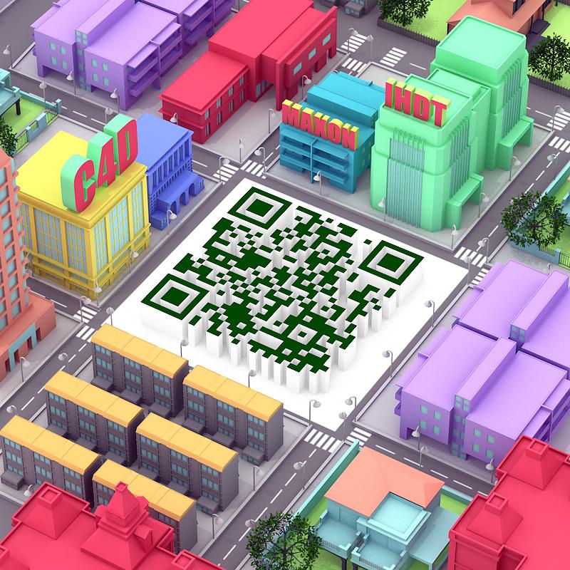 查看《使用C4D制作富有个性的立体场景二维码》原图,原图尺寸:800x800