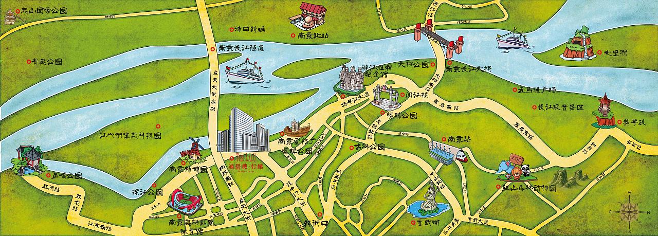 主要突出南京滨江地区的区域手绘地图图片